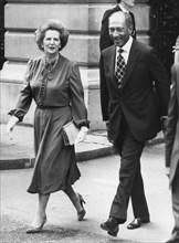 Margaret Thatcher and President Anwar Sadat walking to Downing Street, 3rd August 1981. Artist: Unknown