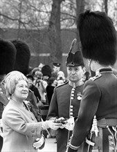 The Queen Mother presenting a shamrock to Irish Guards on St Patrick's Day, 1973. Artist: Unknown