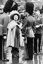 The Queen Mother presenting a shamrock to Irish Guards on St Patrick's Day, 1980. Artist: Unknown