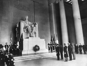 President Nixon lays a wreath at the Lincoln Memorial, Washington DC, 15th February 1969. Artist: Unknown