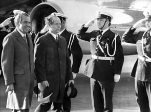 US President Richard Nixon and Icelandic President Kristjan Eldjarn, Reykjavik, Iceland. Artist: Unknown