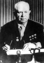 Soviet Premier Nikita Khrushchev speaks on television, 1961. Artist: Unknown