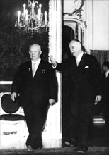 Soviet Premier Nikita Khrushchev visiting Austrian President Dr Adolf Scharf, Vienna, 1961. Artist: Unknown