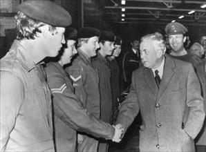 Harold Wilson meets the 1st Queen's Lancashire Regiment, Londonderry, 19th December 1975. Artist: Unknown