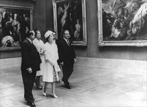 Queen Elizabeth II and Bavarian Premier Alfons Goppel visit the Alte Pinakothek, Munich, 1965. Artist: Unknown