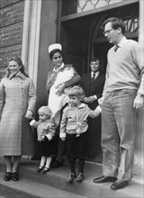 The Duke and Duchess of Gloucester leaving St Mary's Hospital with baby Rose, 10th March 1980. Artist: Unknown
