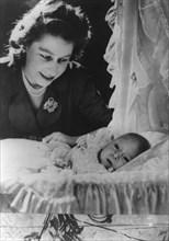 Princess Elizabeth with her son Charles, 1948. Artist: Unknown