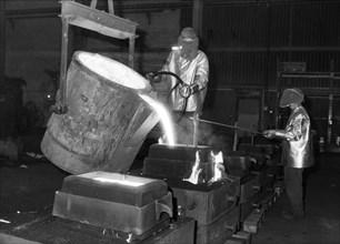 Pouring molten steel, Kockums shipyard, Malmö, Sweden, 1984. Artist: Unknown