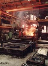Pouring molten steel, Kockums shipyard, Malmö, Sweden, 1981. Artist: Unknown