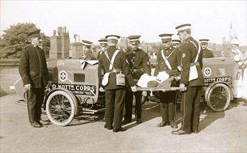 Campion Brothers motorcycle ambulances, Nottingham, Nottinghamshire, c1916. Artist: Unknown
