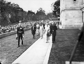 King George V and Queen Mary at the opening ceremony of the University of Nottingham, 1928. Artist: Henson & Co
