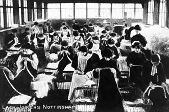 Women lace joiners, Nottingham, Nottinghamshire, c1904. Artist: Unknown