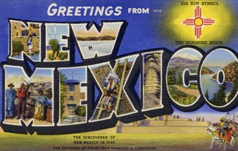 'Greetings from New Mexico', postcard, 1940. Artist: Unknown