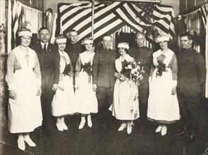 Nurses and soldiers, Lovell Hospital, Fort Sheridan, Illinois, USA, 1915. Artist: Unknown