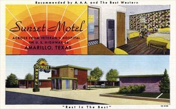 Sunset Motel, Amarillo, Texas, USA, 1951. Artist: Unknown