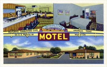 Skyline Motel, Amarillo, Texas, USA, 1951. Artist: Unknown