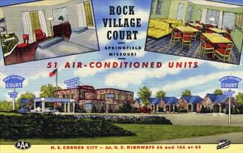 Rock Village Court motel, Springfield, Missouri, USA, 1950. Artist: Unknown