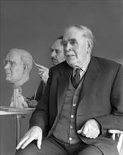 Alderman M Crichton posing for a sculpture, Swinton, South Yorkshire, April 1959. Artist: Michael Walters