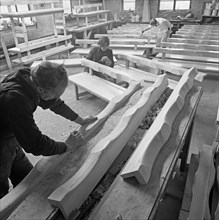 Carpenters working on church pews at a small carpentry workshop, South Yorkshire, 1969. Artist: Michael Walters