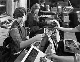 Producing brochures at the White Rose Press Co, Mexborough, South Yorkshire, 1959. Artist: Michael Walters