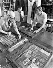 Newspaper typesetting, Mexborough, South Yorkshire, 1959.  Artist: Michael Walters