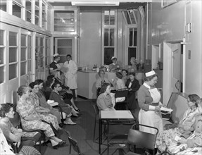 Outpatients awaiting treatement at the Montague Hospital, Mexborough, South Yorkshire, 1959. Artist: Michael Walters