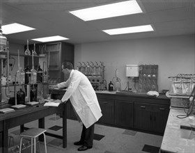 Laboratory facility at Spillers Animal Foods, Gainsborough, Lincolnshire, 1960.  Artist: Michael Walters
