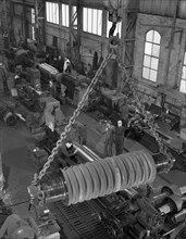 A busy foundry shop floor with lathes, Wombwell, near Barnsley, South Yorkshire, 1963. Artist: Michael Walters