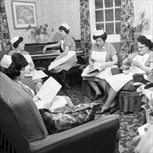 Nurses' rest room, Montague Hospital, Mexborough, South Yorkshire, 1968. Artist: Michael Walters