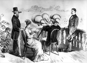 Keeping  in touch with Edison's aerophone, c1878. Artist: Unknown