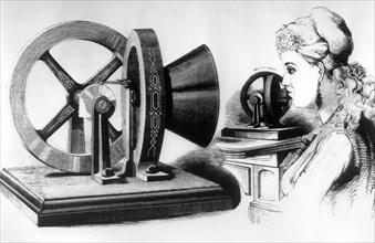 Edison's voice amplifying machine, c1878. Artist: Unknown