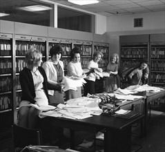 Female workers in the filing and postal room, Stanley Tools works, Sheffield, South Yorkshire, 1967. Artist: Michael Walters