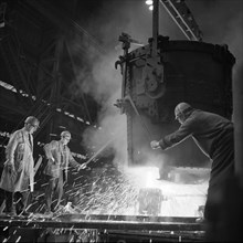Pouring a two ton casting, Osborn Hadfields Steel Founders, Sheffield, South Yorkshire, 1968. Artist: Michael Walters