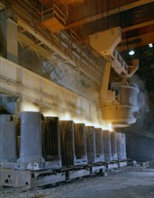 Teeming (pouring) steel ingots, Park Gate Iron and Steel Co, Rotherham, South Yorkshire, 1965. Artist: Michael Walters
