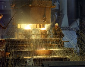 Pouring a 23 ton steel casting, Sheffield, South Yorkshire, 1968. Artist: Michael Walters