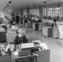 The administration office at Huntsman House, Tetley's headquarters in Leeds, May 1968. Artist: Michael Walters