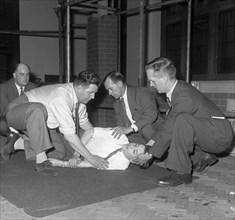 Recovery position, East Midland Gas Board training, 1961.  Artist: Michael Walters