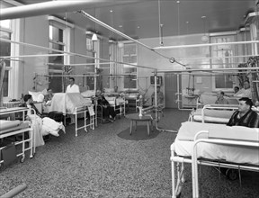 Patients on a men's surgical ward, Montague Hospital, Mexborough, South Yorkshire, 1968. Artist: Michael Walters