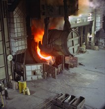 A steel pour at Newton Chambers, Chapeltown, Sheffield, South Yorkshire, 1971.  Artist: Michael Walters