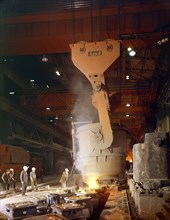 Teeming (pouring) steel ingots, Park Gate Iron and Steel Co, Rotherham, South Yorkshire, 1964. Artist: Michael Walters