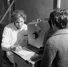 Eye screening, Rotherham, South Yorkshire, 1967. Artist: Michael Walters