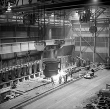 Teeming (pouring) molten iron, Park Gate Iron & Steel Co, Rotherham, South Yorkshire, 1964. Artist: Michael Walters