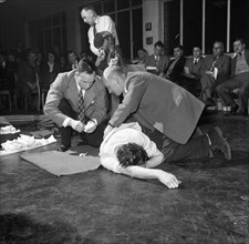 First aid competition, Mexborough, South Yorkshire, 1961. Artist: Michael Walters