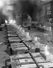 Pouring small castings, Edgar Allen Steel Co, Sheffield, South Yorkshire, 1963.  Artist: Michael Walters