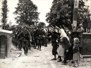 German troops enter Czech territory, October 1938. Artist: Unknown