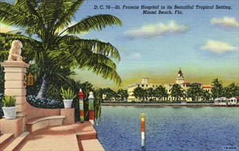 'St Francis Hospital in its Beautiful Tropical Setting, Miami Beach, Florida', USA, 1941. Artist: Unknown