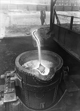 Molten steel, Park Gate Iron & Steel Co, Rotherham, South Yorkshire, April 1955.  Artist: Michael Walters