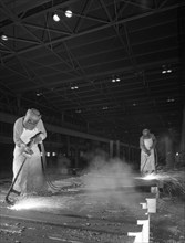 Steelworkers at Park Gate Iron and Steel Co, Rotherham, South Yorkshire, April 1964.  Artist: Michael Walters