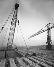 Tinsley Viaduct under construction, Meadowhall, near Sheffield, South Yorkshire, November 1967. Artist: Michael Walters