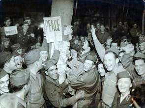 American soldiers celebrating the surrender of Japan, Paris, World War II, August 1945. Artist: Unknown
